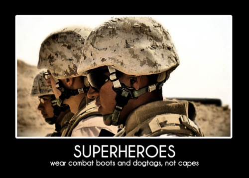 Superheroes wear combat boots and dog tags, not capes.