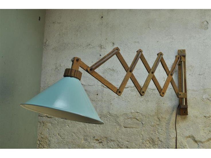 Stunning originele houten schaarlamp