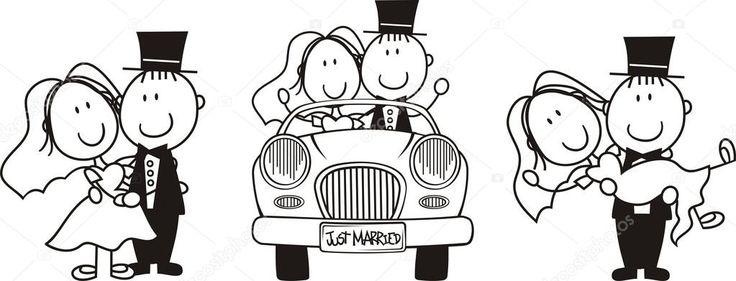 V sledek obr zku pro enich a nev sta kreslen obr zky malov n na obli ej bride groom - Dessin voiture mariage ...