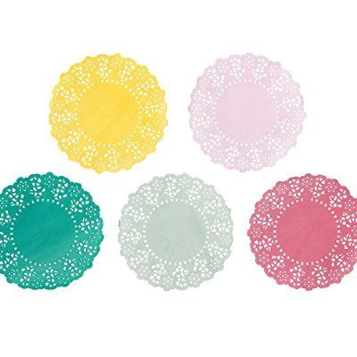 Talking Tables Truly Scrumptious Tea Party Mini Paper Doilies (100 Pack), Multicolored