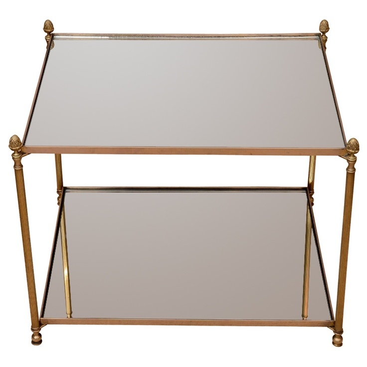 1920 S Bagues Style Brass Two Tier Side Table Furniture
