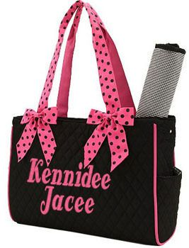 Personalized Diaper Bag For Girl Or Boy - Embroidered Quilted Black And Fuschia Diaper Bag ...
