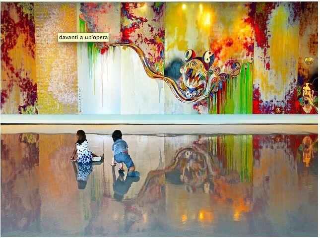 facing an artwork