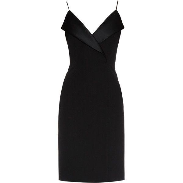 La Mania Pinna wool and satin dress found on Polyvore featuring dresses, short dresses, vestidos, платья, black, little black dress, lbd dress, androgynous dress, satin dress and wool dress