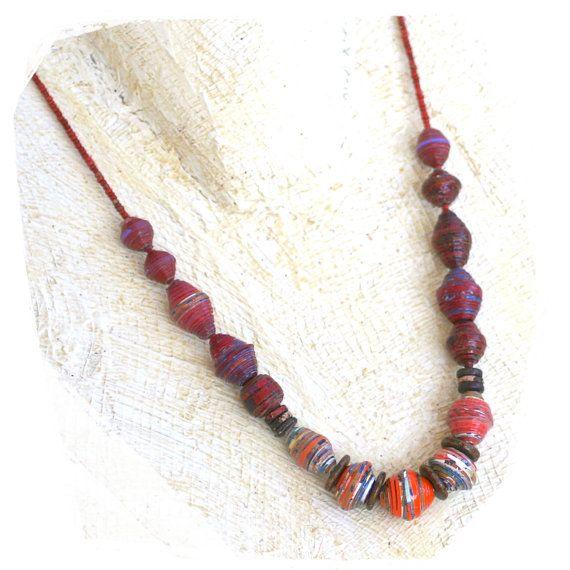 tribal do grânulo colar papel boêmio vermelho e laranja - moderno talão de papel tribal colar boêmio