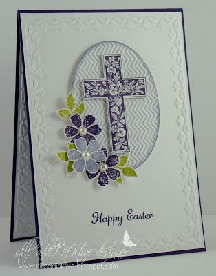 The color is Elegant Eggplant, and the result is lovely handmade Easter card. This stamped cross has pretty flowers and flourishes. The flowers are dimensional and pop off the page, with pearl centers.