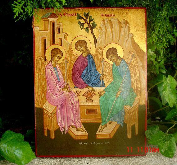 byzantine icon.orthodox icon.holy trinity angel.greek icon.archangel gabriel.christian icon.russian icon.religious icon.hand painted icon.