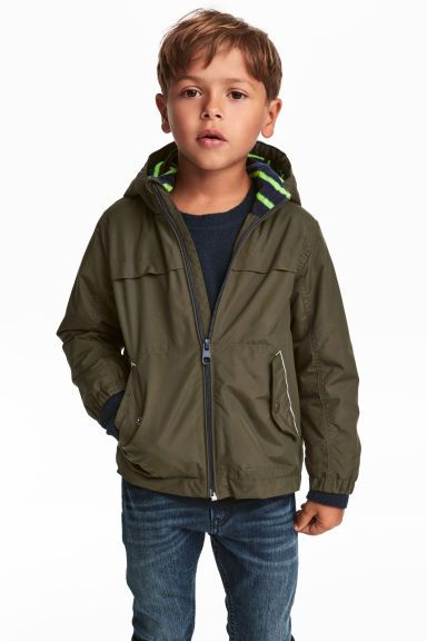 Fleece-lined outdoor jacket - Khaki green - Kids | H&M GB 1