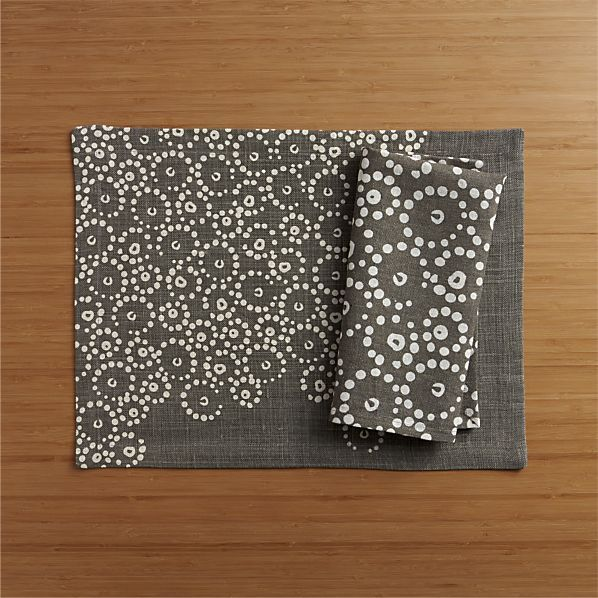 Perla Grey Placemat and Napkin    Crate and Barrel