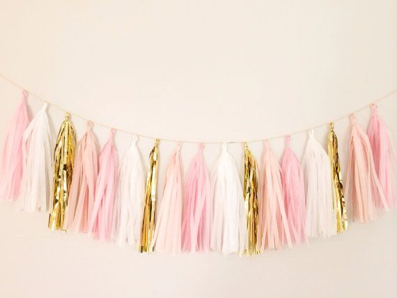 Pink and Gold Tassel Garland - Party Decor, Birthday Party, Wedding Decor, Bridal Party, Nursery Decor, Baby Shower, Gold Decor & Photo Prop...