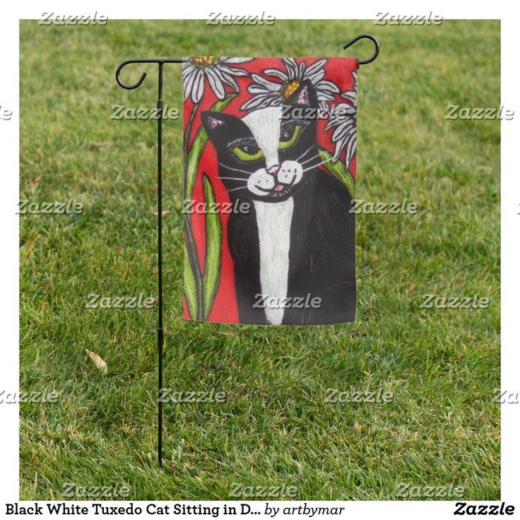 Cat Sitting Flag Tuxedo, Tuxedo Cat Garden Flags