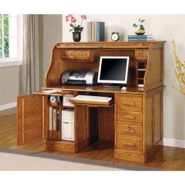 Coaster Roll Top Wooden Home Office Computer Desk With