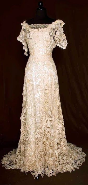 Trained Irish Crochet Gown - c. 1908 - Augusta Auctions. This neckline is beautiful! Almost off-the-shoulder.