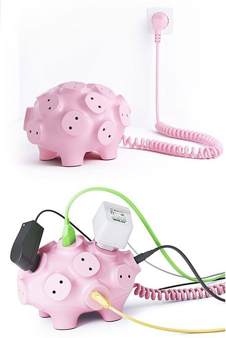 Power strip pig... hahahaah so awkward looking but yet probably better than normal power strips because if can hold more and the big plugs don't take up all the space