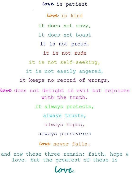 love is patient...  1 Corinthians 13  This passage of scripture may tend to get glossed over as we've seen it so many times. Yet it is full of wisdom to teach our children. Also, if everyone took the time the meditate on these words and incorporate it into their lives, the divorce rate would not only be lower, but marriage wouldn't be such a flip decision in the first place.