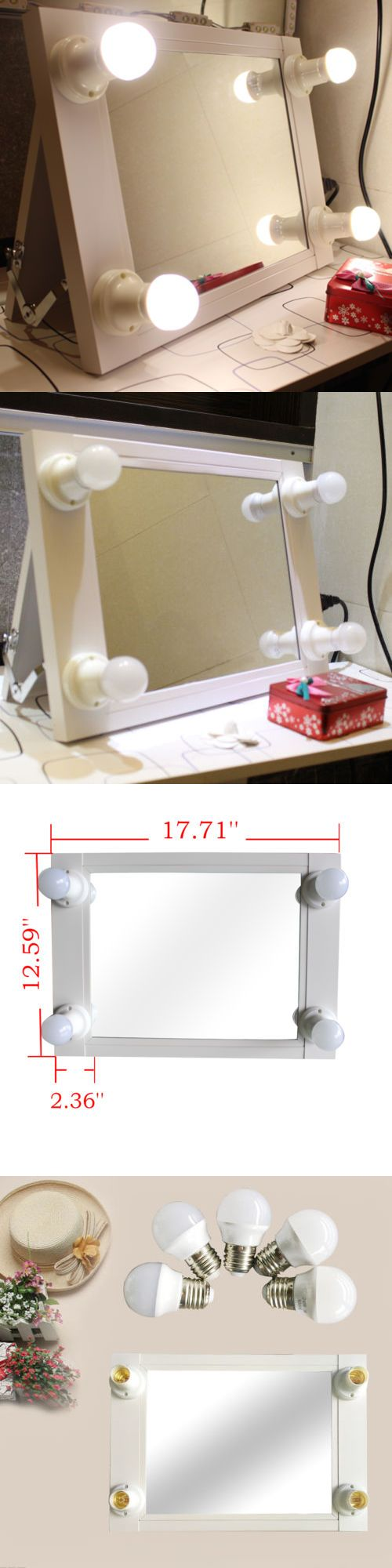 Makeup Mirrors: White Portable Hollywood Lighted Vanity Mirror Illuminate Theatre Makeup Mirror BUY IT NOW ONLY: $79.99