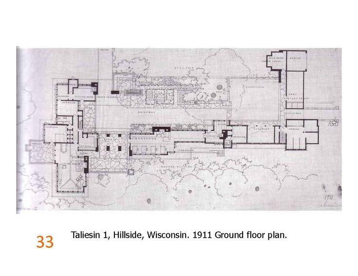 Taliesin 1 ground floor plan 1911 frank lloyd wright for Frank lloyd wright floor plan