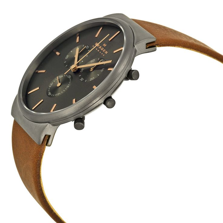 Skagen Ancher Chronograph Grey Dial Brown Leather Men's Watch SKW6106 - Ancher - Skagen - Shop Watches by Brand - Jomashop