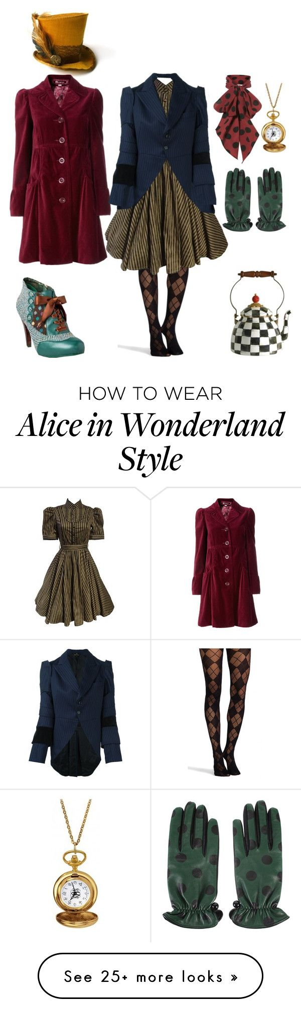 """Steampunk Mad Hatter"" by summersurf2014 on Polyvore featuring Monsoon, Marc Jacobs, Pretty Polly, Comme des Garçons, MacKenzie-Childs and Alison & Ivy"