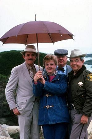 """Jessica Fletcher (Angela Lansbury) Sheriff Harry Pierce (John Astin)  Dr. Seth Hazlitt (William Windom) Sheriff Amos Tupper (Tom Bosley) Murder She Wrote was a 60 minute drama series on CBS about a famous Mystery Writer who keeps """"bumping into"""" murders. That was fortunate for law enforcement because she was always the only one who could solve the crimes!"""