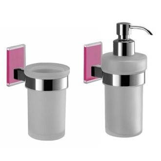 Bathroom Accessory Set Pink And Chrome Toothbrush Tumbler And Soap Dispenser Accessory Set MNE500-76 Gedy MNE500-76