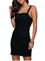 Mini Straps Bodycon Denim Night Out Dress - BLACK M Mobile