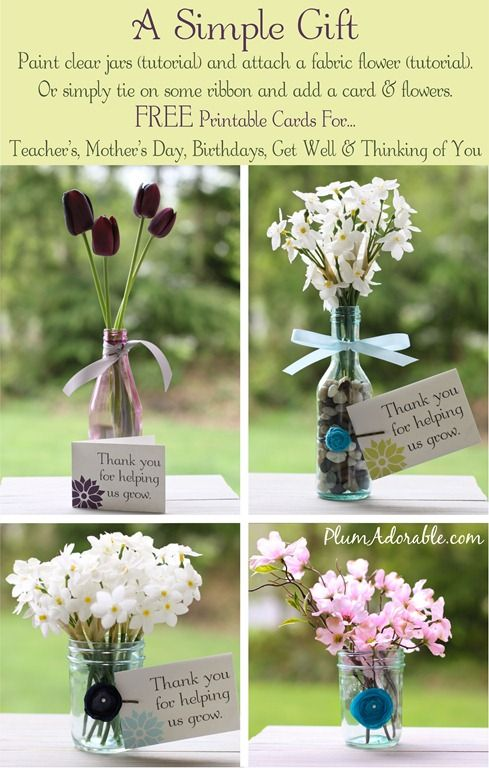Mason Jar Flowers - cute gift ideas for teachers, mother's day, b-days, you name it!!