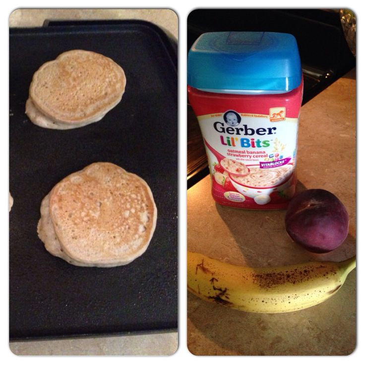 Baby food pancakes  1 egg 1 cup flour ( I used coconut) 1/2 cup baby cereal ( I used strawberry banana but whatever your baby likes) 1 tbsp oil ( I used coconut) 2 tsp brown sugar  1 1/2 tsp baking powder  1 tsp cinnamon ( I used cinnamon & nutmeg mix)  1 cap full of vanilla 1/4 cup baby food purée ( I used a banana & peach I had puréed from the day before, but whatever you have 1 cup formula or 100% juice add water if needed  I made the night before then added formula in the morning