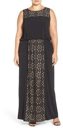 London Times Plus Size Women's Lace Panel Gown