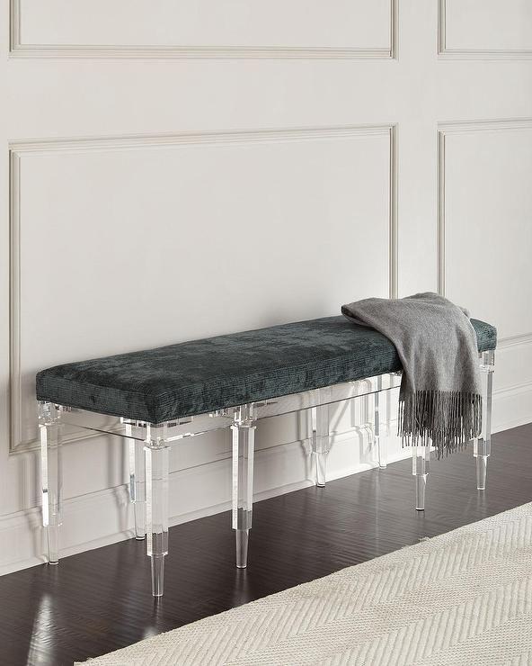 Battista Teal Square Acrylic Legs Bench Decor