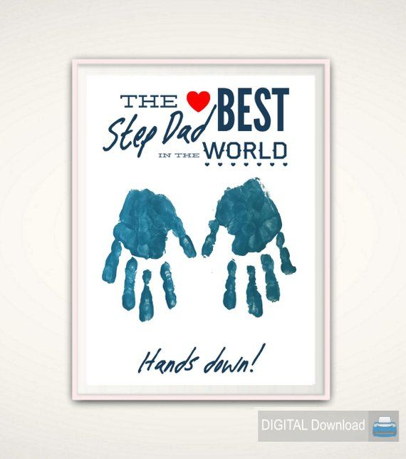 Step Dad Gift – Christmas Gift for Step Dad, Gifts for Stepdad, Step Father Personalized Present, From Stepkid, DIY Handprint Art, DIGITAL