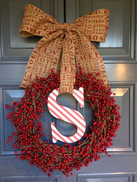 Christmas Holidays Monogram Initial Berry Burlap Wreath