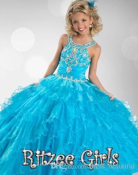 Discount 2014 Cheap Blue Pageant Dresses For Girls Floor Length Little Girls Pageant Dresses Ball Gown Flower Girl Dresses Pageant Cupcake Dresses Online with $81.05/Piece | DHgate