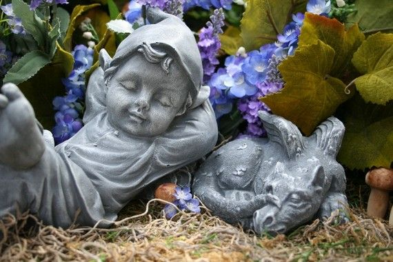 garden troll statues | Garden Gnome Sleeping Boy Statue - Baby Elf Pixie For Your Fairy ...