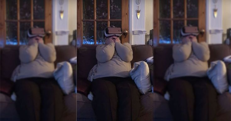 Grandmother screams bloody murder during her first VR roller coaster ride