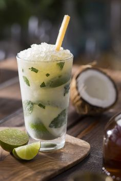 Coconut Mojito- Cruzan Coconut Rum, Coco López, lime and pineapple juice.