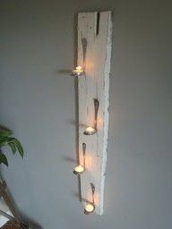 scrap wood / bent spoons / tea lights