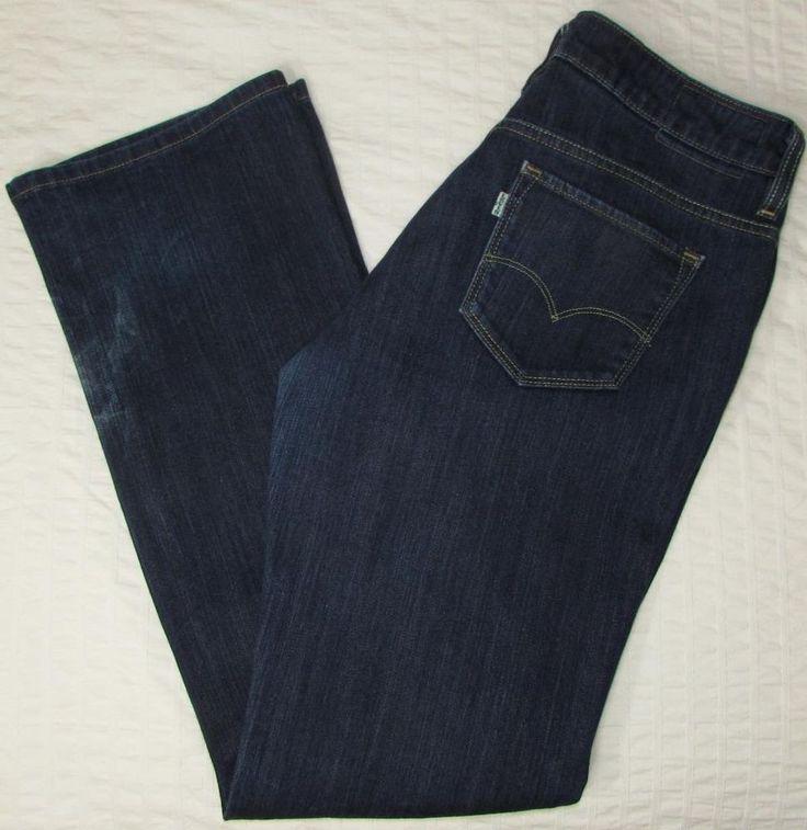 Women Levis Levi s Eco Jeans Contour Boot Cut Dark Wash Mid Rise sz 8 X 30 EUC