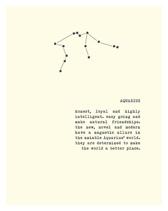 This typography print features the Aquarius constellation and qualities known for this sign. Makes for a lovely birthday gift. It reads: honest,