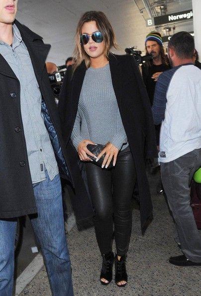Khloe Kardashian Photos: Kim & Khloe Kardashian Touch Down At LAX