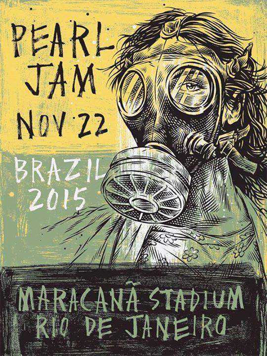 Rio de Janeiro concert poster by Ben Horton for tonight's Pearl Jam Latin America Tour date.