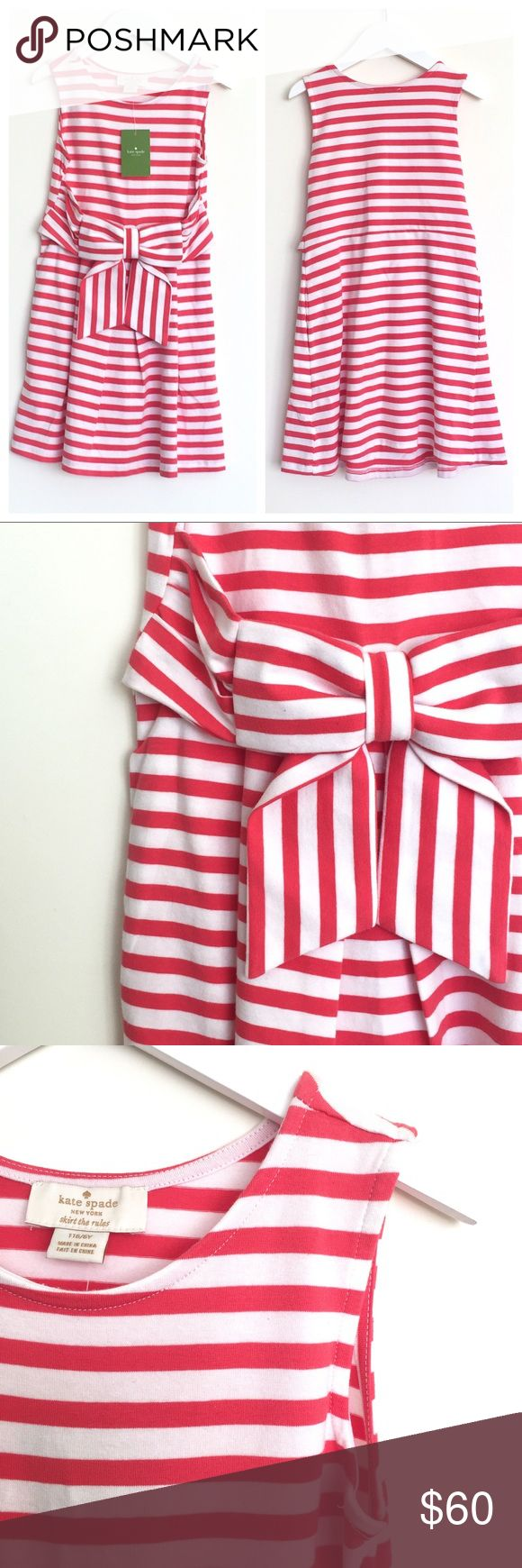 KATE SPADE 'Jillian' Skirt the Rules Dress (6Y) Brand New with Tags / Style: 'Jillian' Dress from Skirt the Rules Line / Color: Red and white stripe pattern throughout / center bow detail / 2 hidden side pockets / 95% cotton 5% elastane / machine wash / pet-free & smoke free home  /Perfect dressed up or down!! kate spade Dresses