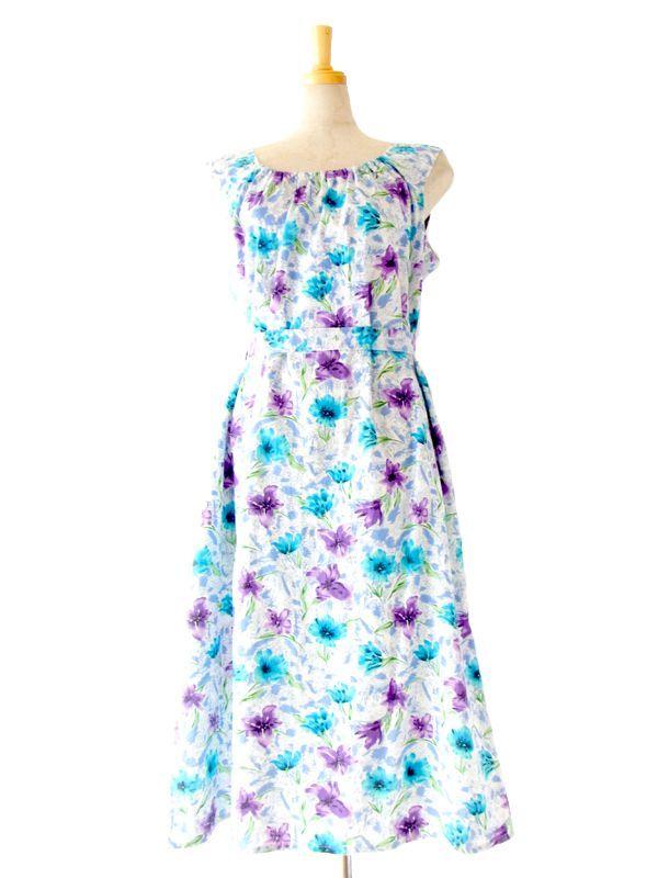 ヨーロッパ古着 ロンドン買い付け ホワイト X ブルー・パープル 花柄 ベルト付き サマー ワンピース : 13BS130