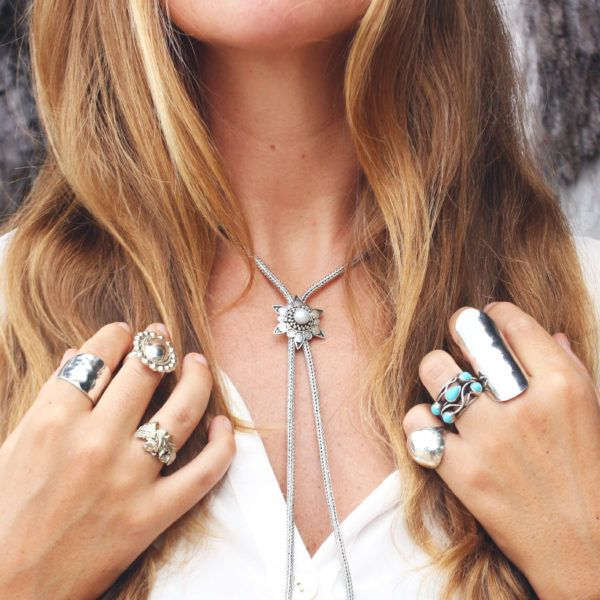 Long Rope Chain Bolo Tie Necklace