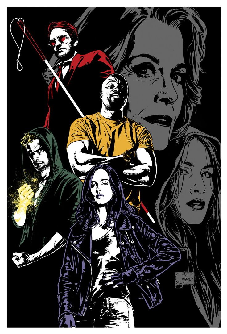 Just got the green light that I can share this. Here's a quick piece I finished last month (sans logo and text) as a cast and crew gift for the Defenders team. This show is going to blow you guys away!
