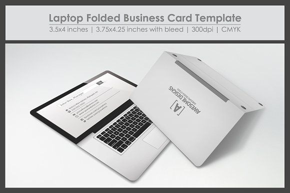 Laptop Folded Business Card Template by Zeppelin Graphics on @creativemarket