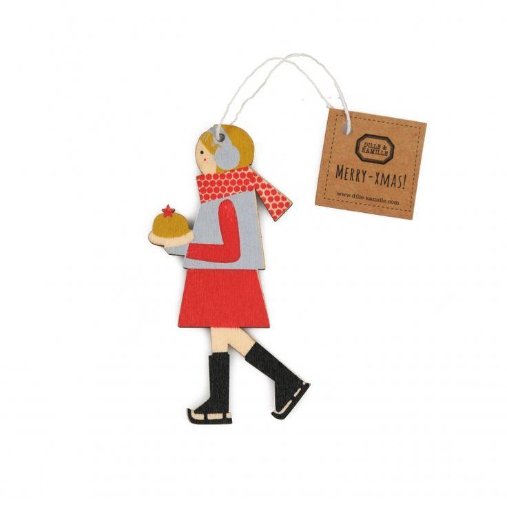 Kerstboomhanger van hout, schaatster met rode sjaal