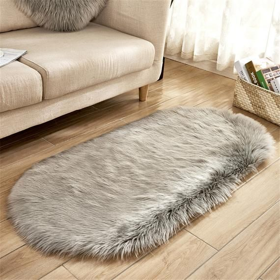 80180cm Oval Fur Faux Artificial Sheepskin Carpet Washable Etsy In 2020 Fluffy Rug Faux Sheepskin Rug Plush Rug