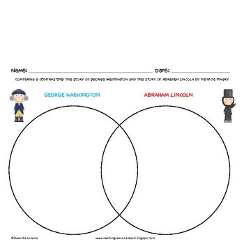 FREE President's Day venn diagram to compare Washington & Lincoln using Patricia A. Pingry's books on these presidents.