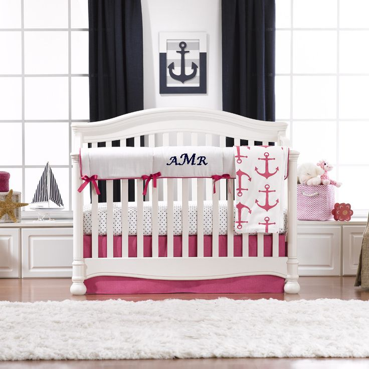 Nautical Inspired Crib Bedding Set Features Anchors In Hot Pink. Shop  Anchor Crib Bedding At Liz And Roo.